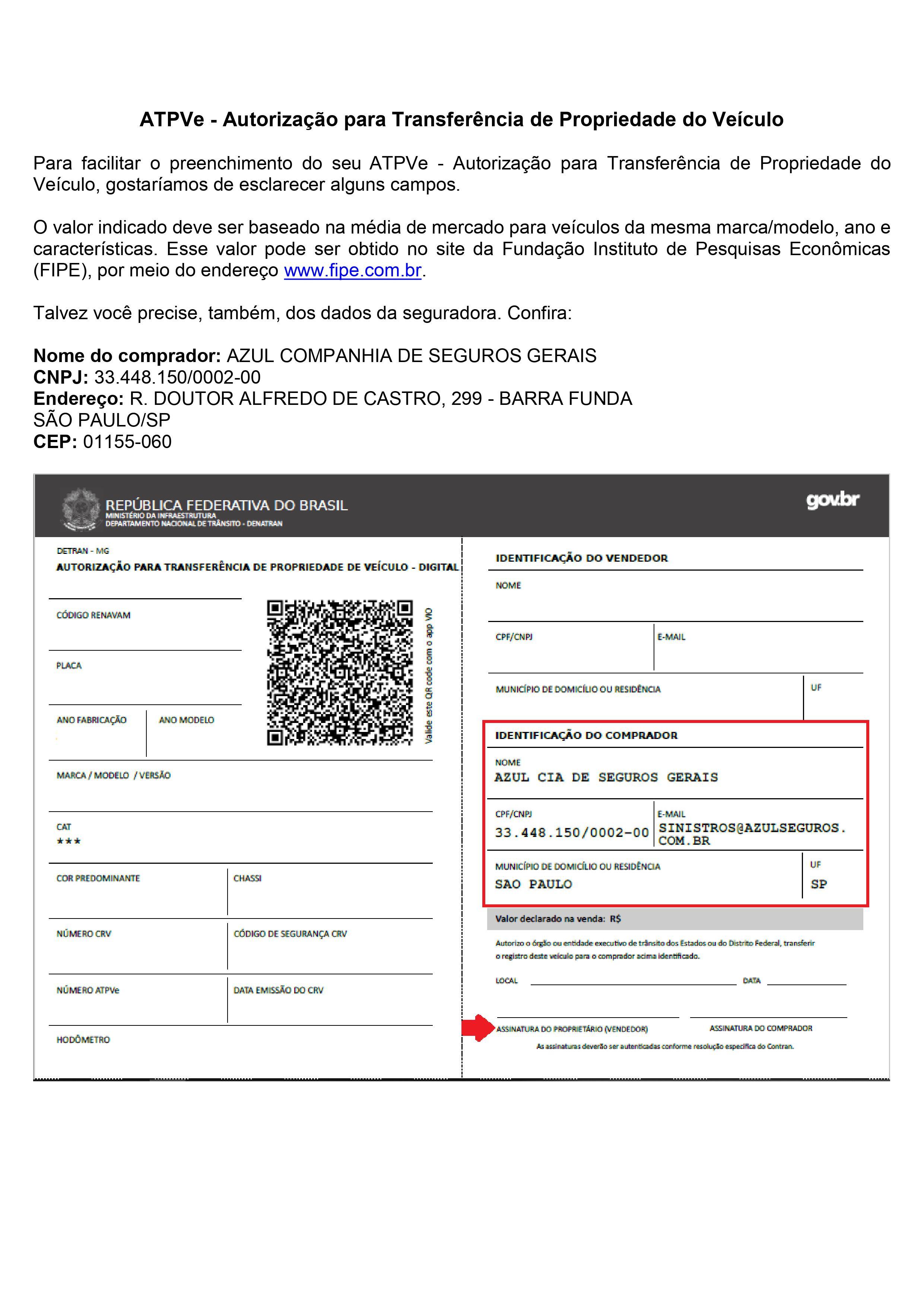ATPVe - Autorização para Transferência de Propriedade do Veículo - SEG demais estados